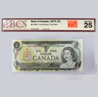 1973 Bank of Canada $1.00, Test Note, VF 25, BCS Certified EXA1285687