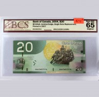 2004 Bank of Canada $20.00, Gem UNC 65 ORIGINAL, BCS Certified ARA3602514