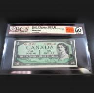 1954 Bank of Canada $1.00, UNC 60 ORIGINAL, BCS Certified S/00105482