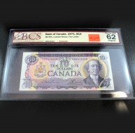 1971 Bank of Canada $10.00, Two Letter, Choice UNC 62 ORIGINAL, BCS Certified VR5210423