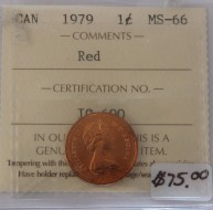 1979 Canada 1 Cent Red MS-66, ICCS Certified IQ 690