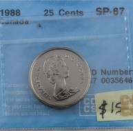 1988 Canada 25 Cents SP-67, CCCS Certified 102567 0035646