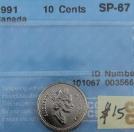 1991 Canada 10 Cents SP-67, CCCS Certified 101067 0035663
