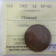 1901 Canada 1 Cent Cleaned  EF40